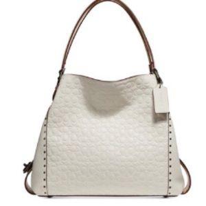 Edie 31 Signature Embossed Leather Shoulder Bag